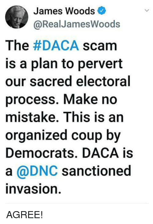 James Woods, James, and Sacred: James Woods  @RealJamesWoods  The #DACA scam  is a plan to pervert  our sacred electoral  process. Make no  mistake. This is an  organized coup by  Democrats. DACA is  a @DNC sanctionec  invasion AGREE!