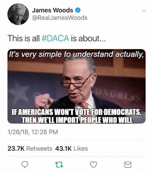 Memes, James Woods, and 🤖: James Woods  @RealJamesWoods  This is all #DACA is about  It's very simple to understand actually,  IFAMERICANS WONT VOTE FORDEMOCRATS,  THEN WELL IMPORT PEOPLE WHO WILL  1/26/18, 12:28 PM  23.7K Retweets 43.1K Likes