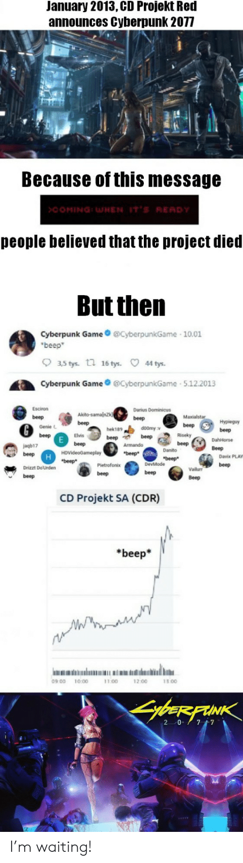 Game, Waiting..., and Darius: January 2013, CD Projekt Red  announces Cyberpunk 2077  Because of this message  >COMING:WHEN IT'S RE  people believed that the project died  But then  Cyberpunk Game@CyberpunkGame 10.01  beep  。35tys.  n  16 tys.  44 tys.  Cyberpunk GameyberpunkGame 5.122013  @beGen.bete  Esciron  Darius Dominicus  beep m.e: se-,  Maxialstar  Genie L  hek189  doomy v  Elvis  jagb17  Danito  Davix PLAY  Vailur beep  Beep  Drizzt DoUrden  beep  beep  beep  CD Projekt SA (CDR)  *beep*  09 00 10:00  11.00  12.00  13.00 I'm waiting!