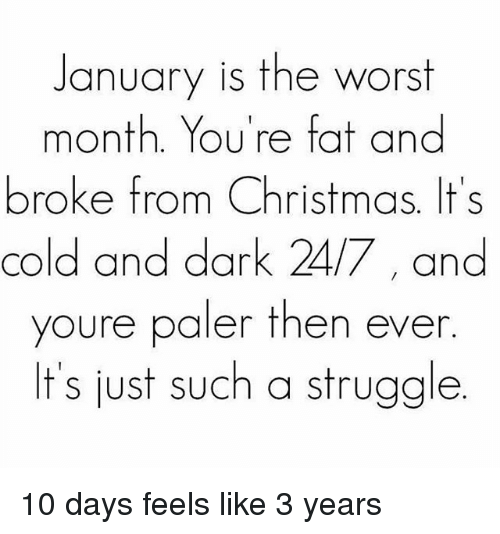 Christmas, Struggle, and The Worst: January is the worst  month. You're fat and  broke from Christmas. It's  cold and dark 24/7 and  youre paler then ever  It's just such a struggle 10 days feels like 3 years