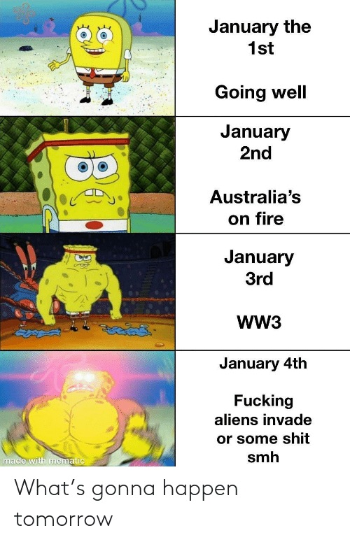 Fire, Smh, and Aliens: January the  1st  Going well  January  2nd  Australia's  on fire  January  3rd  WW3  తైతడద్  January 4th  Fucking  aliens invade  or some shit  smh  made with mematic What's gonna happen tomorrow