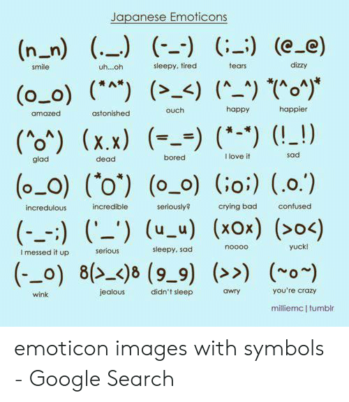 Bad, Bored, and Confused: Japanese Emoticons  (n_n) (.) (-) (-) (e_e)  dizzy  sleepy, tired  tears  smile  uh...oh  (o_o) () <) (^_) *o)*  happier  happy  ouch  amazed  astonished  (0*) (x.x) () (*) (!_!)  sad  I love it  bored  glad  dead  (o_O) (o') (o_o) (o:) (.0.)  incredible  confused  seriously  crying bad  incredulous  (-_) ) uu) (xox) (>0<)  yuck!  noooo  sleepy, sad  serious  I messed it up  (_o) 8()8 (9-9) >> o)  you're crazy  jealous  didn't sleep  awry  wink  milliemc I tumblr emoticon images with symbols - Google Search