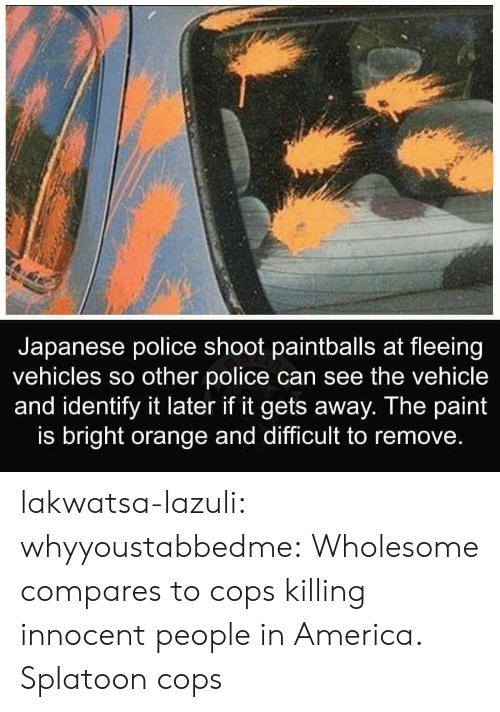 America, Police, and Tumblr: Japanese police shoot paintballs at fleeing  vehicles so other police can see the vehicle  and identify it later if it gets away. The paint  is bright orange and difficult to remove. lakwatsa-lazuli:  whyyoustabbedme: Wholesome compares to cops killing innocent people in America.  Splatoon cops