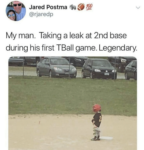 Dank, Game, and Jared: Jared Postma 0  @rjaredp  My man. Taking a leak at 2nd base  during his first TBall game. Legendary.