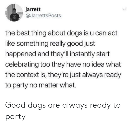 Dogs, Party, and Best: jarrett  @JarrettsPost:s  the best thing about dogs is u can act  like something really good just  happened and they'll instantly start  celebrating too they have no idea what  the context is, they're just always ready  to party no matter what. Good dogs are always ready to party