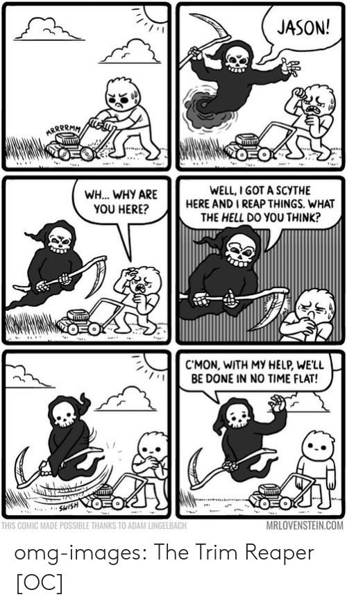 Omg, Tumblr, and Blog: JASON!  WH... WHY ARE  YOU HERE?  WELL,I GOT A SCYTHE  HERE AND I REAP THINGS. WHAT  THE HELL DO YOU THINK?  C'MON, WITH MY HELP, WE'LL  BE DONE IN NO TIME FLAT!  THIS COMIC MADE POSSIBLE THANKS TO ADAM LINGELBACH  MRLOVENSTEIN.COM omg-images:  The Trim Reaper [OC]