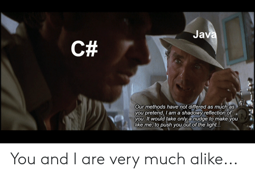 Java C# Our Methods Have Not Differed as Much as You Pretend I Am a