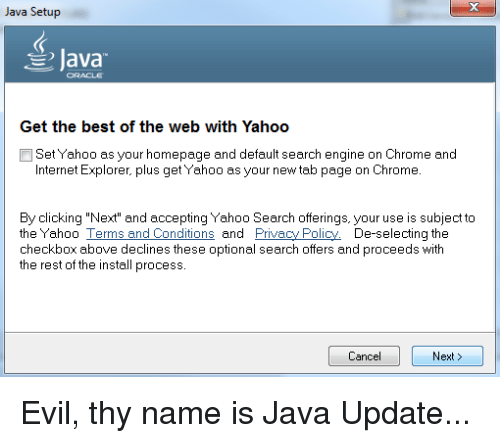 Java Setup Java Get the Best of the Web With Yahoo Set Yahoo as Your
