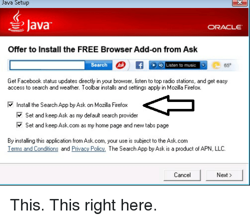 Java Setup Java ORACLE Offer to Install the FREE Browser Add-On From