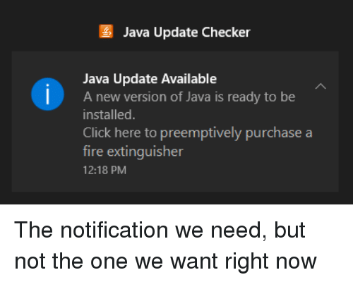 Java Update Checker Java Update Available a New Version of Java Is