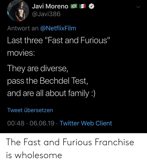 Javi Moreno Antwort an Last Three Fast and Furious Movies They Are