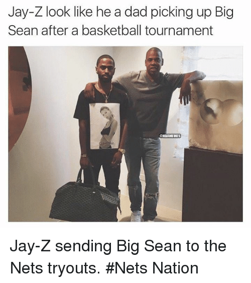 Basketball, Big Sean, and Dad: Jay-Z look like he a dad picking up Big  Sean after a basketball tournament  @NBAMEMES Jay-Z sending Big Sean to the Nets tryouts. #Nets Nation