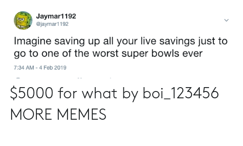 Dank, Memes, and Target: Jaymar1192  @jaymar1192  Imagine saving up all your live savings just to  go to one of the worst super bowls ever  7:34 AM-4 Feb 2019 $5000 for what by boi_123456 MORE MEMES