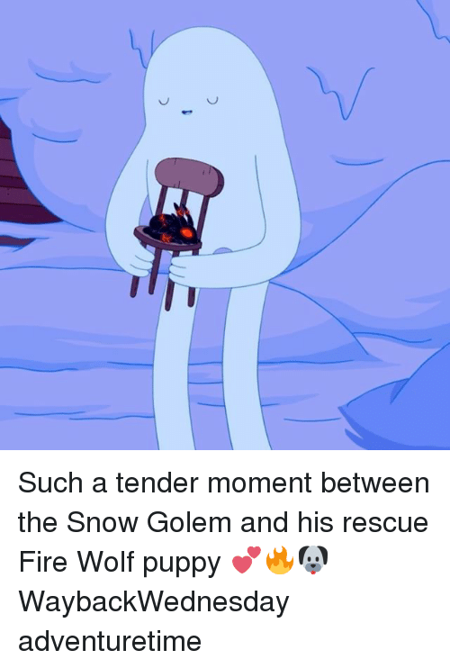 Fire, Memes, and Snow: Je Such a tender moment between the Snow Golem and his rescue Fire Wolf puppy 💕🔥🐶 WaybackWednesday adventuretime