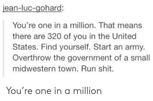 Run, Army, and United: jean-luc-gohard:  You're one in a million. That means  there are 320 of you in the United  States. Find yourself. Start an army.  Overthrow the government of a small  midwestern town. Run shit. You're one in a million