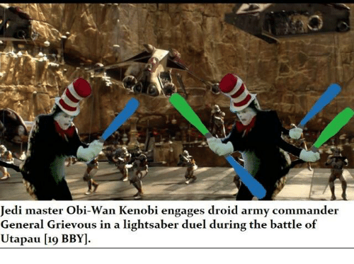 jedi master obi wan kenobi engages droid army commander general grievous 18388884 jedi master obi wan kenobi engages droid army commander general
