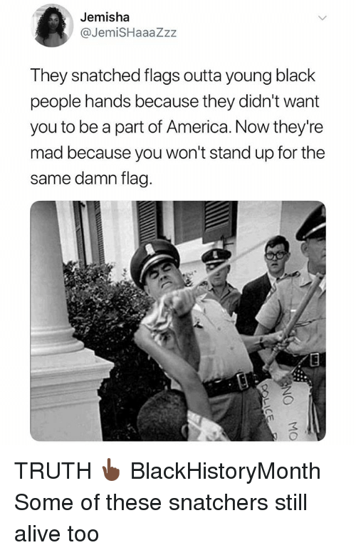 Alive, America, and Memes: Jemisha  @JemiSHaaaZzz  They snatched flags outta young black  people hands because they didn't want  you to be a part of America. Now they're  mad because you won't stand up for the  same damn flag  3 TRUTH 👆🏿 BlackHistoryMonth Some of these snatchers still alive too