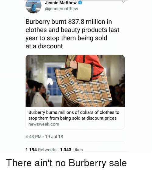 e5d7f1429d70 Jennie Matthew Burberry Burnt  378 Million in Clothes and Beauty ...