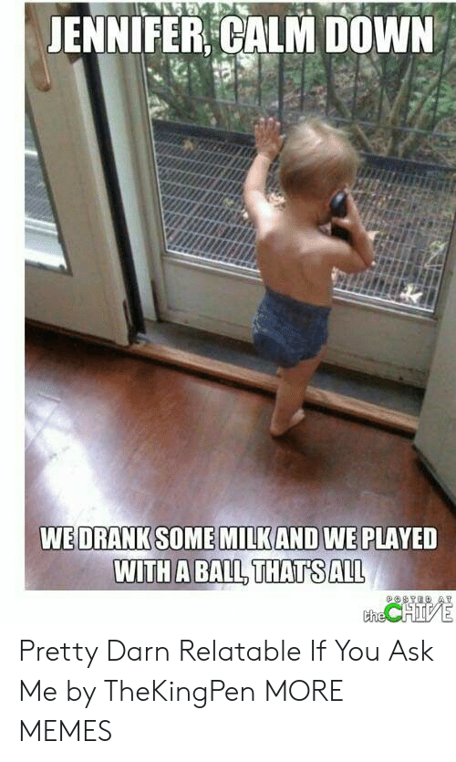 Dank, Memes, and Target: JENNIFER CALM DOWN  WE DRANK SOME MILKAND WE PLAYED  WITH A BALL THATS ALL  POSYED AT  the CHIVE Pretty Darn Relatable If You Ask Me by TheKingPen MORE MEMES