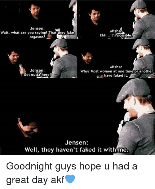 Understood Jensen unknowingly gave me multiple orgasms apologise