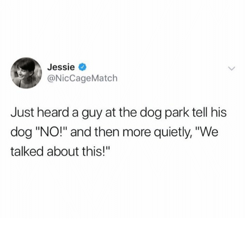 """Dog, Park, and The Dog: Jessie  @NicCageMatch  Just heard a guy at the dog park tell his  dog """"NO!"""" and then more quietly, """"We  talked about this!"""""""