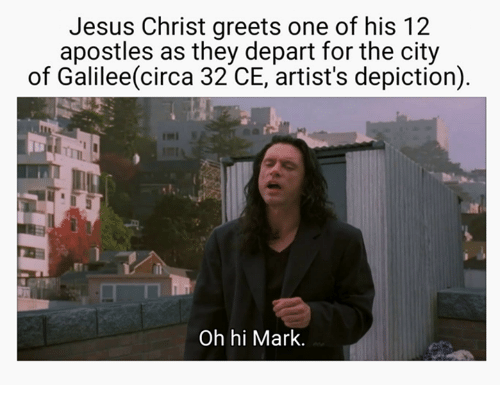 Jesus, Apostles, and Jesus Christ: Jesus Christ greets one of his 12  apostles as they depart for the city  of Galilee(circa 32 CE, artist's depiction)  Oh hi Mark.