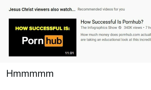 Jesus, Money, and Pornhub: Jesus Christ viewers also watch... Recommended videos for you  How Successful Is Pornhub?  The Infographics Sho340K views 7 ho  How much money does pornhub.com actuall  are taking an educational look at this incredi  How SUCCESSFuL is:  Pornhub  11:01
