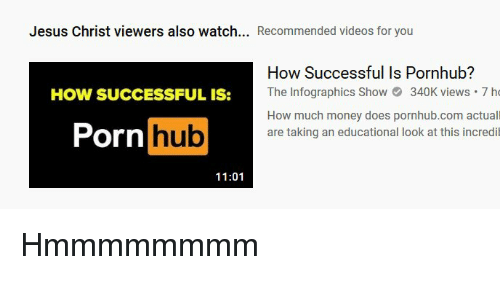 Jesus, Money, and Pornhub: Jesus Christ viewers also watch... Recommended videos for you  How Successful Is Pornhub?  The Infographics Sho340K views 7 ho  HOW SUCCESSFUL IS:  Porn  hubare taknc money des pormhub.com actua  hub  are taking an educational look at this incredi  11:01