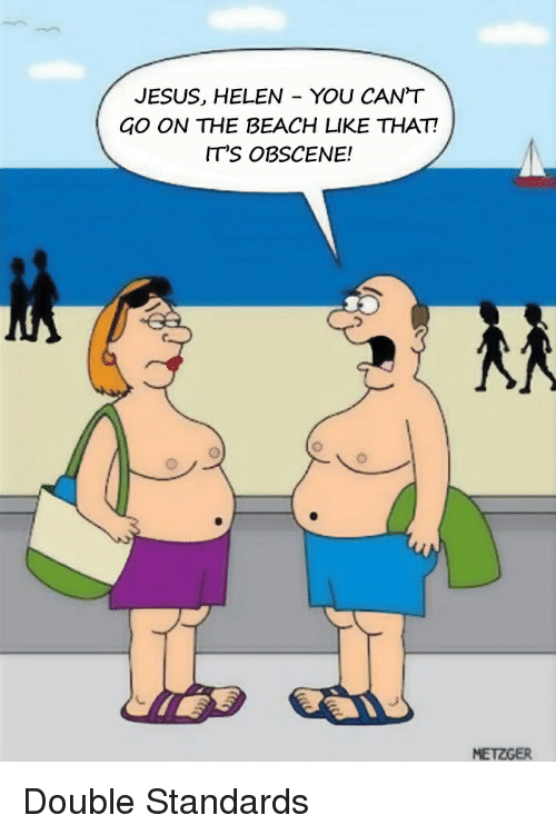 Jesus, Beach, and The Beach: JESUS, HELEN - YOU CAN'T  GO ON THE BEACH LIKE THAT!  IT'S OBSCENE!  フ  C.  METZGER