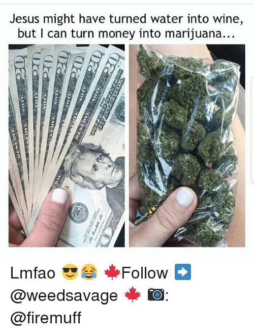 Jesus, Memes, and Money: Jesus might have turned water into wine,  but I can turn money into marijuana... Lmfao 😎😂 🍁Follow ➡ @weedsavage 🍁 📷: @firemuff