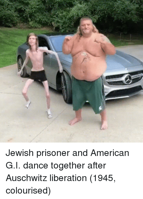 American, Auschwitz, and Jewish: Jewish prisoner and American G.I. dance together after Auschwitz liberation (1945, colourised)
