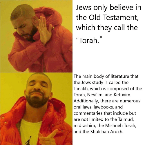 """Limited, Old, and Jews: Jews only believe ir  the Old Testament,  which they call the  """"Torah.""""  The main body of literature that  the Jews study is called the  Tanakh, which is composed of the  Torah, Nevi'im, and Ketuvim.  Additionally, there are numerous  oral laws, lawbooks, and  commentaries that include but  are not limited to the Talmuc,  midrashim, the Mishneh Torah,  and the Shulchan Arukh."""