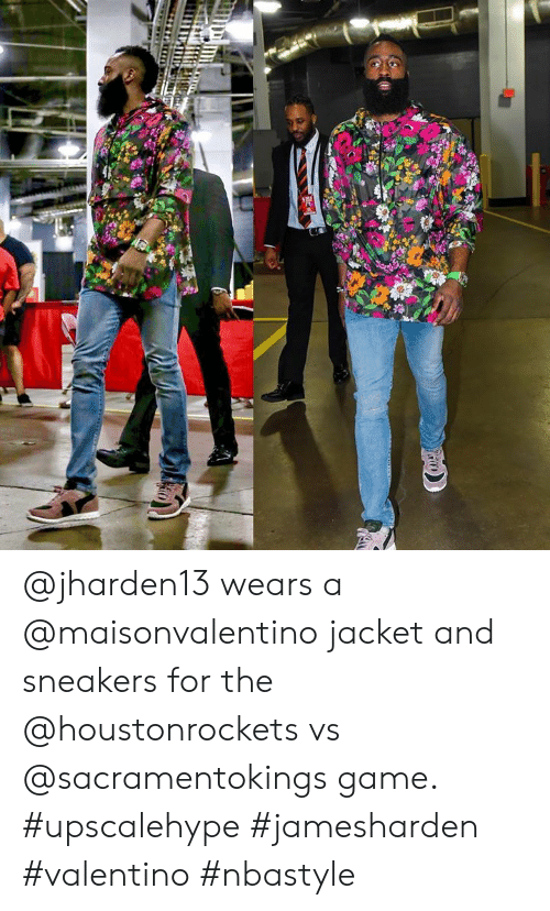 4dd24da5d1 Sneakers, Game, and Valentino: @jharden13 wears a @maisonvalentino jacket  and sneakers