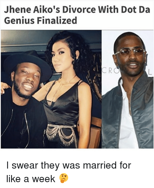 Memes, Genius, and Divorce: Jhene Aiko's Divorce With Dot Da  Genius Finalized I swear they was married for like a week 🤔