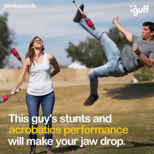 Dank, 🤖, and Will: jiembasands  This guy's stunts and  acrobatics performance  will make your jaw drop.