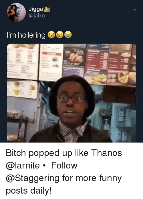 Bitch, Funny, and Jigga: Jigga  @jaixo  I'm hollering Bitch popped up like Thanos @larnite • ➫➫➫ Follow @Staggering for more funny posts daily!