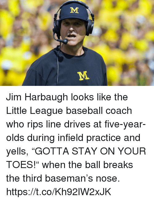 "Baseball, Sports, and Jim Harbaugh: Jim Harbaugh looks like the Little League baseball coach who rips line drives at five-year-olds during infield practice and yells, ""GOTTA STAY ON YOUR TOES!"" when the ball breaks the third baseman's nose. https://t.co/Kh92lW2xJK"