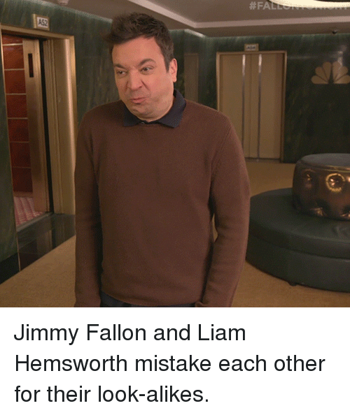 Jimmy Fallon, Target, and youtube.com: Jimmy Fallon and Liam Hemsworth mistake each other for their look-alikes.