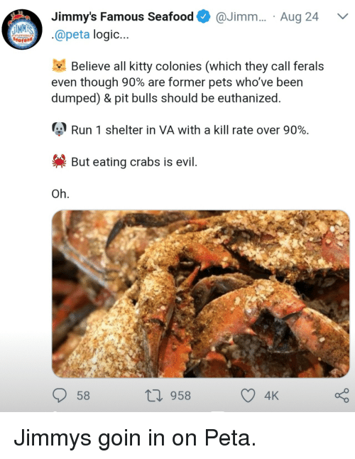 Logic, Run, and Peta: Jimmy's Famous Seafood@Jimm.... Aug 24  IMM  apeta logic...  Believe all kitty colonies (which they call ferals  even though 90% are former pets who've been  dumped) & pit bulls should be euthanized  Run 1 shelter in VA with a kill rate over 90%.  But eating crabs is evil  Oh  58  10 958 Jimmys goin in on Peta.