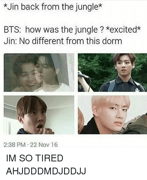 jin back from the jungle bts how was the jungle 7508908 jin back from the jungle bts how was the jungle ?*excited* jin no