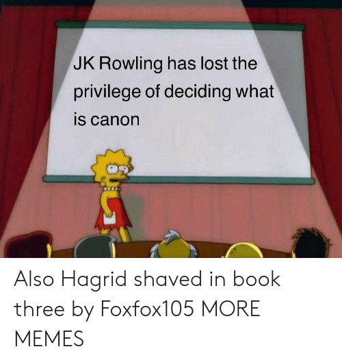 Dank, Memes, and Target: JK Rowling has lost the  privilege of deciding what  is canon Also Hagrid shaved in book three by Foxfox105 MORE MEMES
