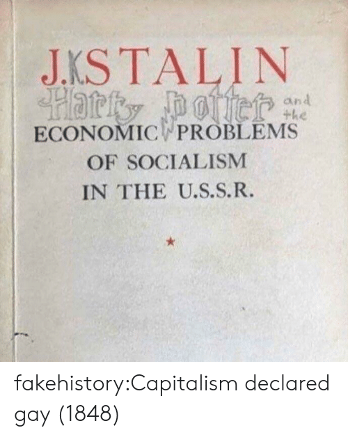 Tumblr, Blog, and Capitalism: JKSTALIN  ECONOMIC PROBLEMS  OF SOCIALISM  IN THE U.S.S.R. fakehistory:Capitalism declared gay (1848)