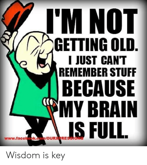 Facebook, Brain, and facebook.com: J'M NOT  GETTING OLD.  I JUST CAN'T  REMEMBER STUFF  BECAUSE  MY BRAIN  www.facebook.com/OURXRESSIONS Wisdom is key