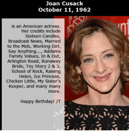 Joan Cusack October 11 1962 Is An American Actress Her Credits