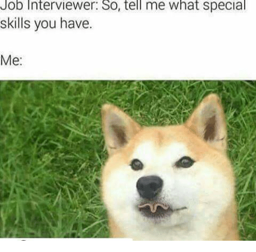 Job Interviewer So Tell Me What Special Skills You Have Me Job
