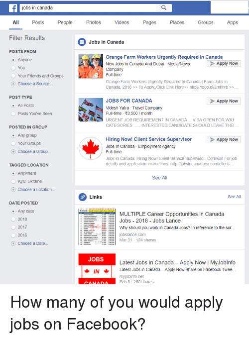 Jobs in Canada All Posts Peop Photos Videos Pages Places Groups Apps