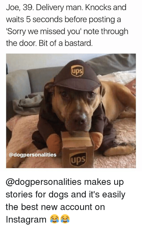 Dogs, Instagram, and Memes: Joe, 39. Delivery man. Knocks and  waits 5 seconds before posting a  Sorry we missed you' note through  the door. Bit of a bastard  UpS  @dogpersonalities  ups @dogpersonalities makes up stories for dogs and it's easily the best new account on Instagram 😂😂