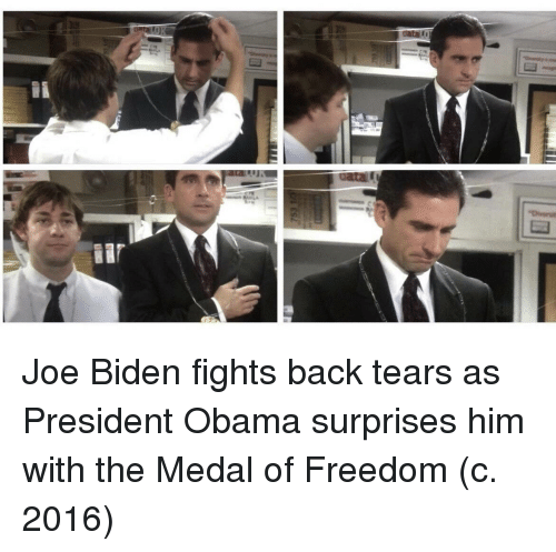 Joe Biden, Obama, and Freedom: Joe Biden fights back tears as President Obama surprises him with the Medal of Freedom (c. 2016)