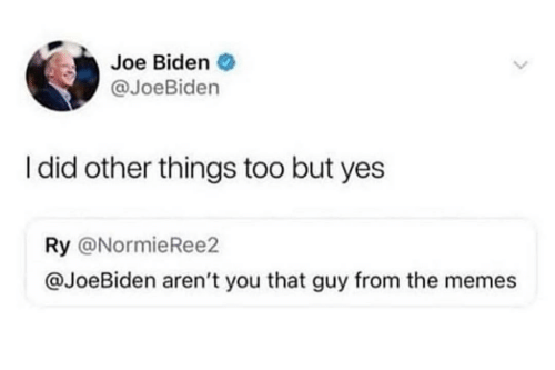 Joe Biden, Memes, and Arent You: Joe Biden .  @JoeBiden  I did other things too but yes  Ry @NormieRee2  @JoeBiden aren't you that guy from the memes