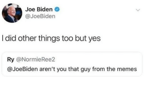Joe Biden, Memes, and Arent You: Joe Biden  @JoeBiden  I did other things too but yes  Ry @NormieRee2  @JoeBiden aren't you that guy from the memes